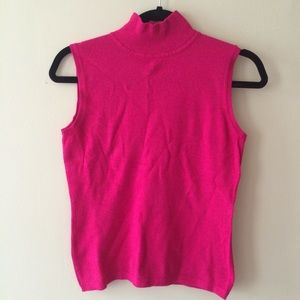 Investments Hot Pink Mock Neck Sleeveless Sweater